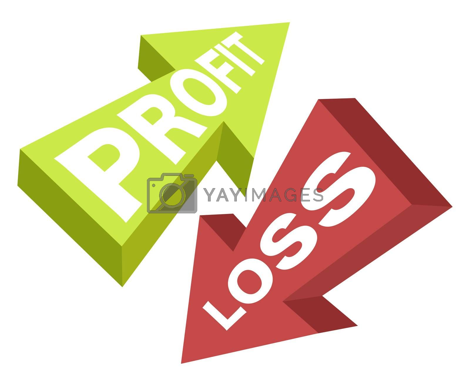 Profit and loss, illustration, vector on white background