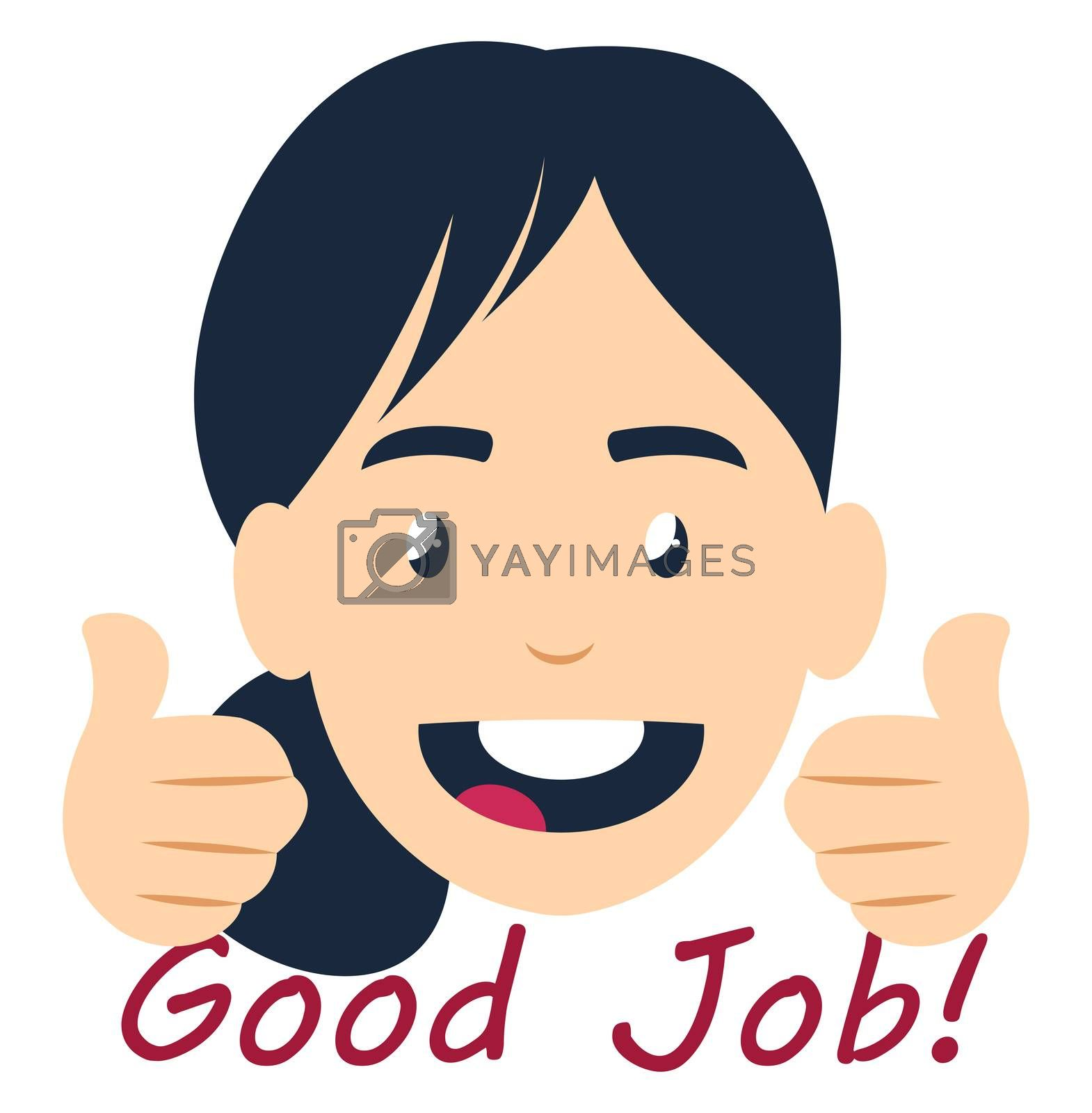 Girl saying good job, illustration, vector on white background