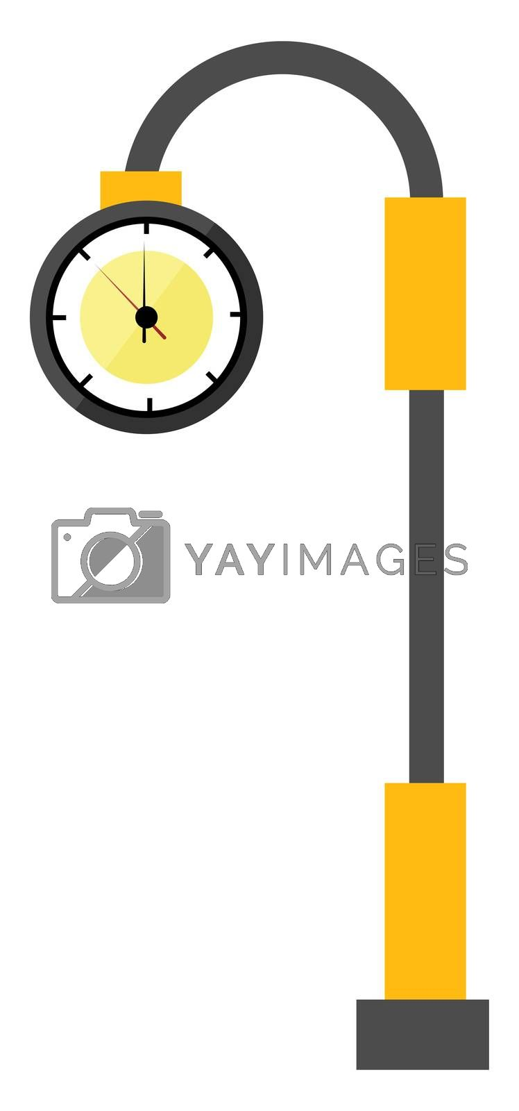Street clock, illustration, vector on white background