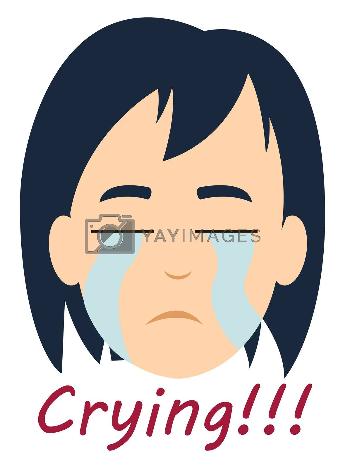 Crying girl, illustration, vector on white background