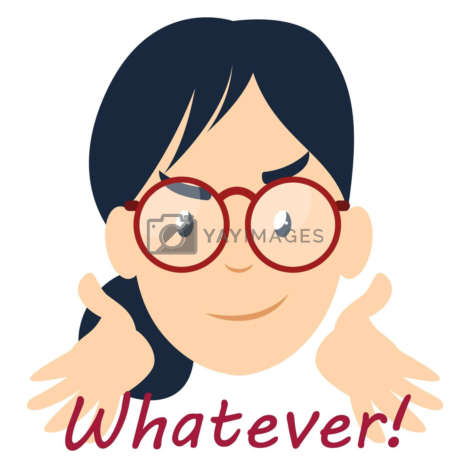 Girl with glasses, illustration, vector on white background