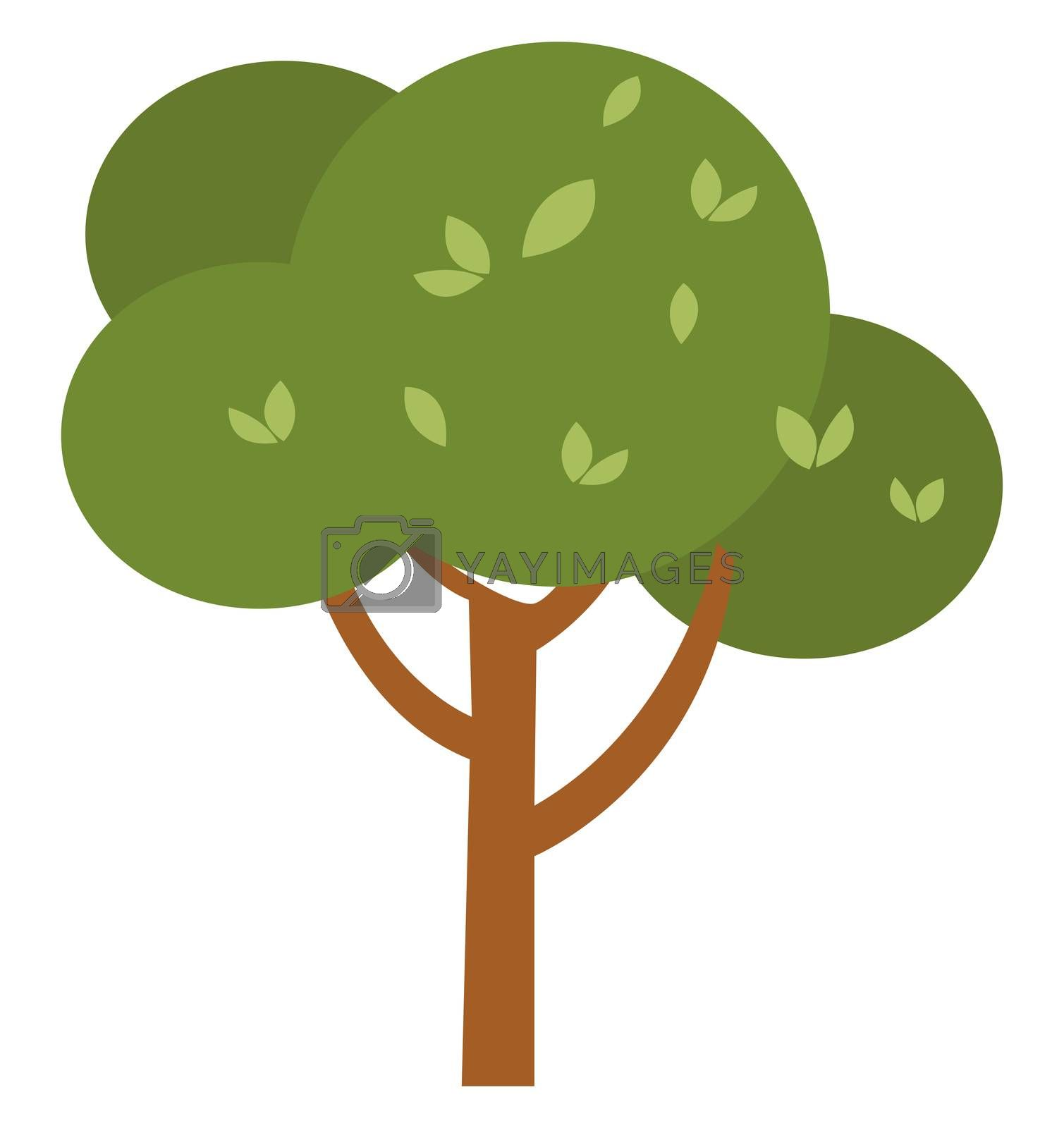 Green tree, illustration, vector on white background