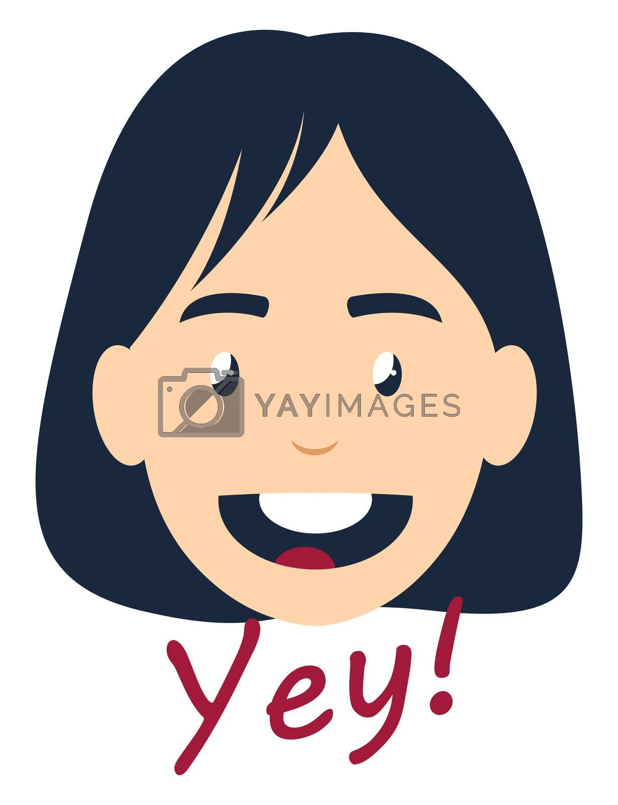 Girl saying yes, illustration, vector on white background