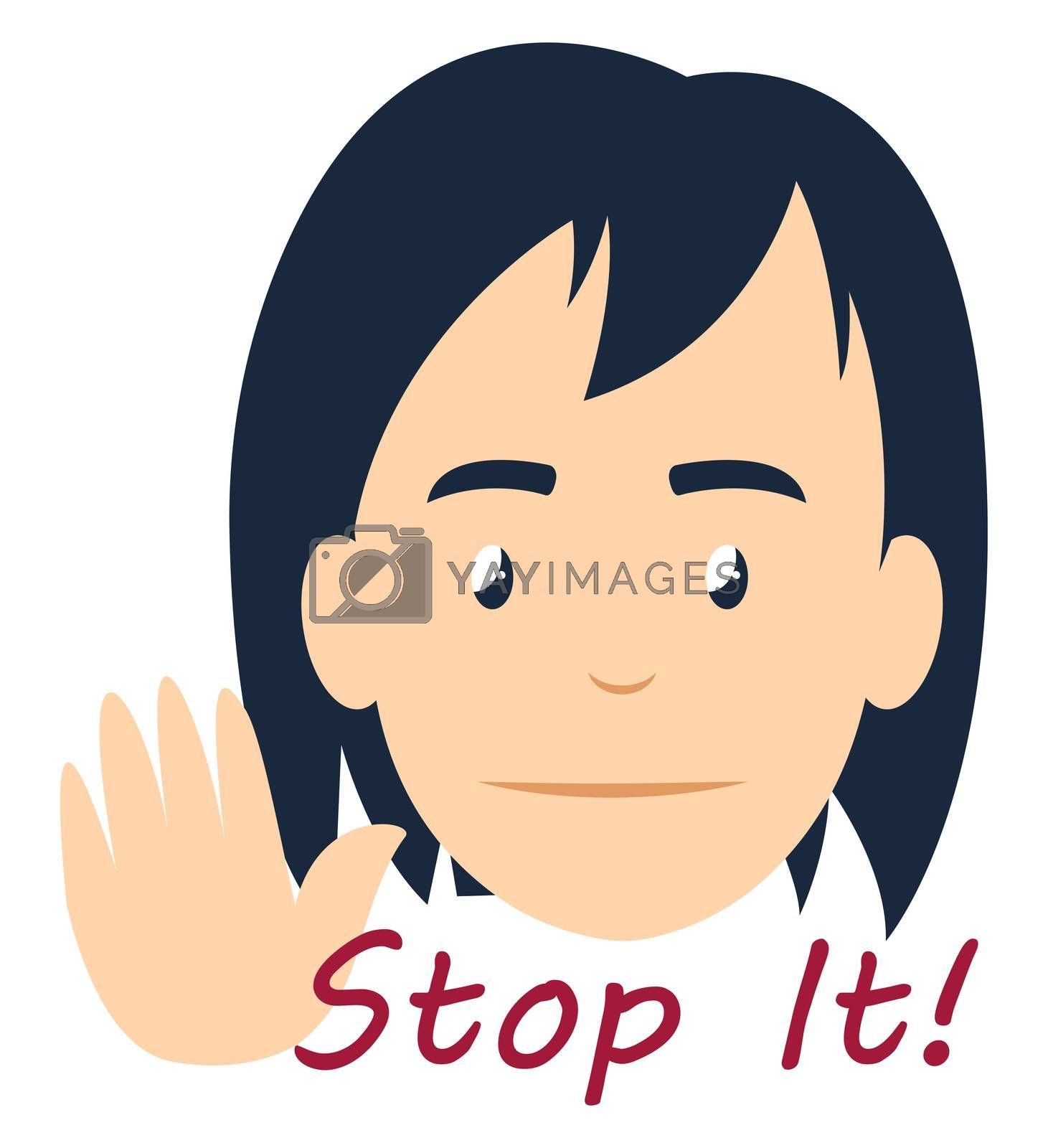 Girl saying stop it, illustration, vector on white background