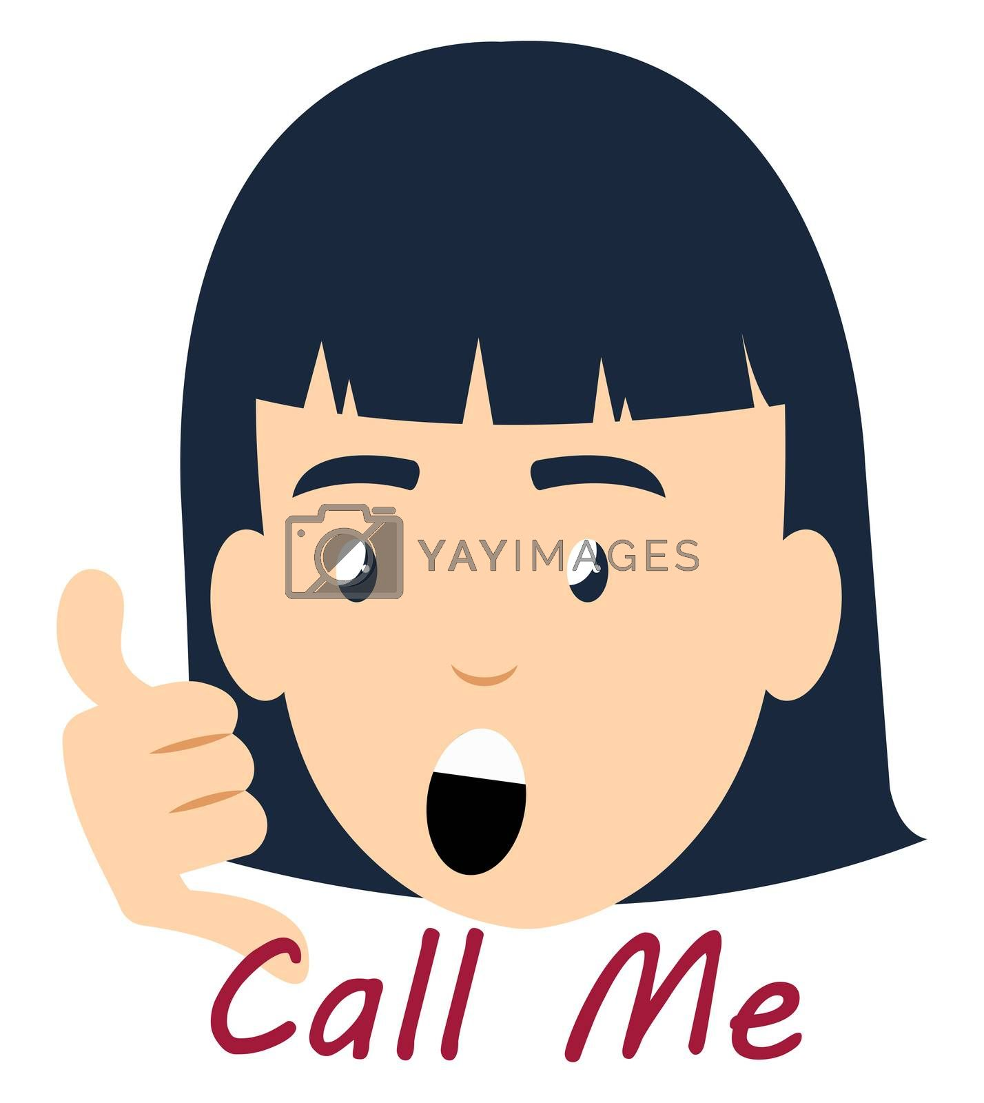 Girl saying call me, illustration, vector on white background