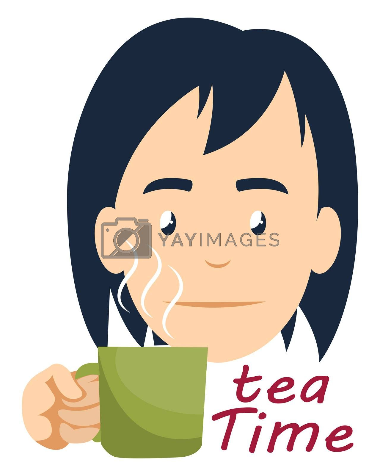 Girl drinking tea, illustration, vector on white background