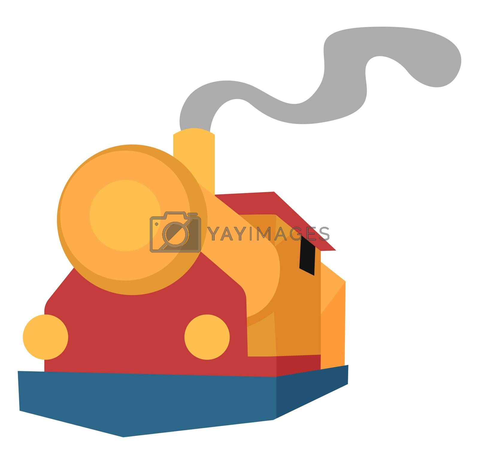 Old train, illustration, vector on white background