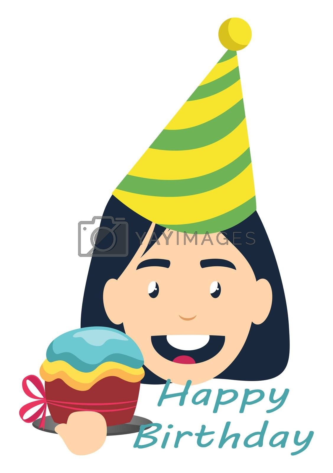 Girl on birthday party, illustration, vector on white background