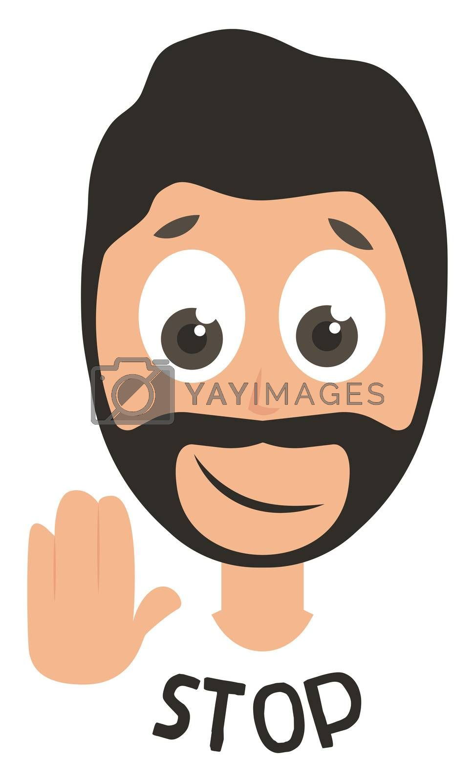 Man saying stop, illustration, vector on white background