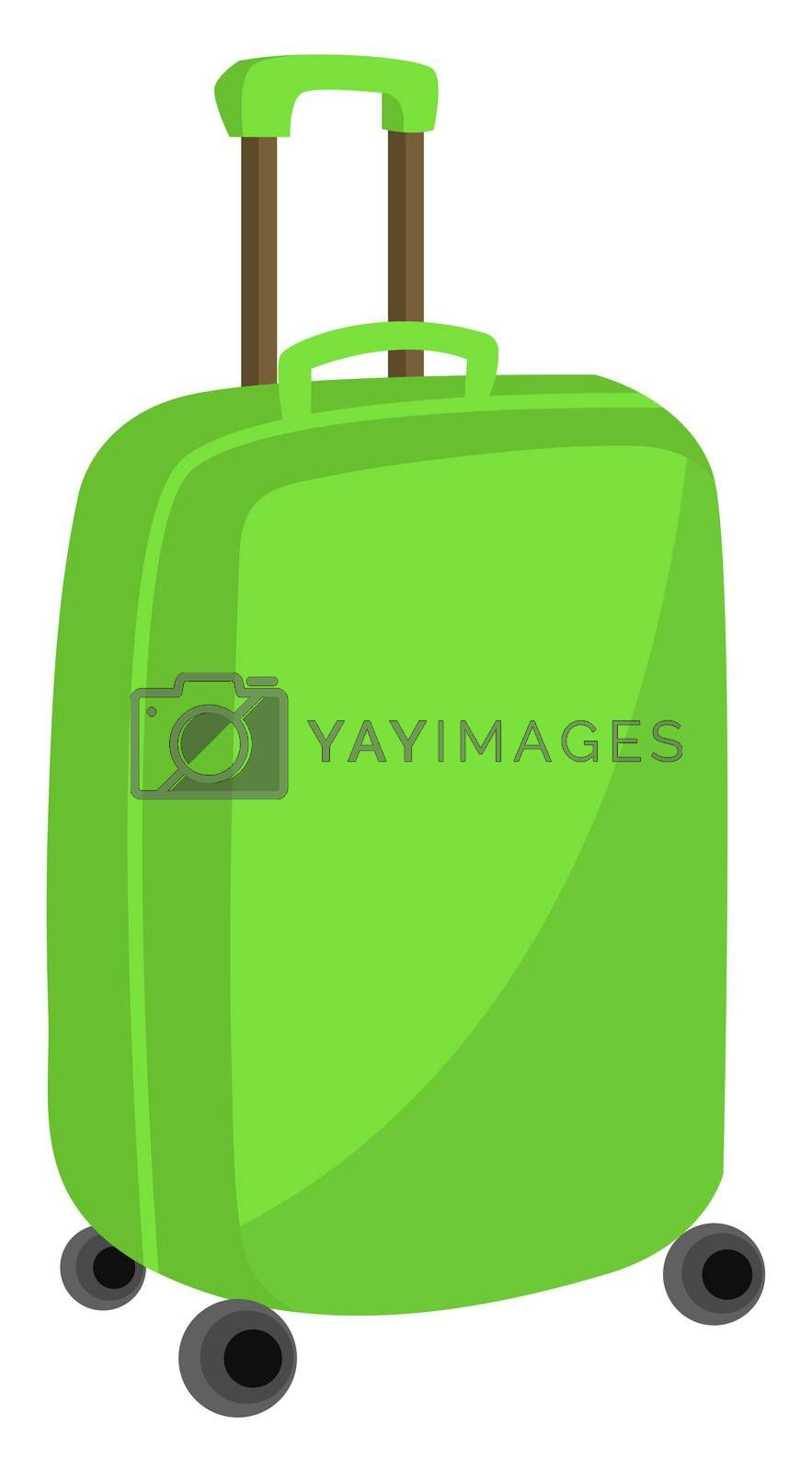 Green trolley bag, illustration, vector on white background