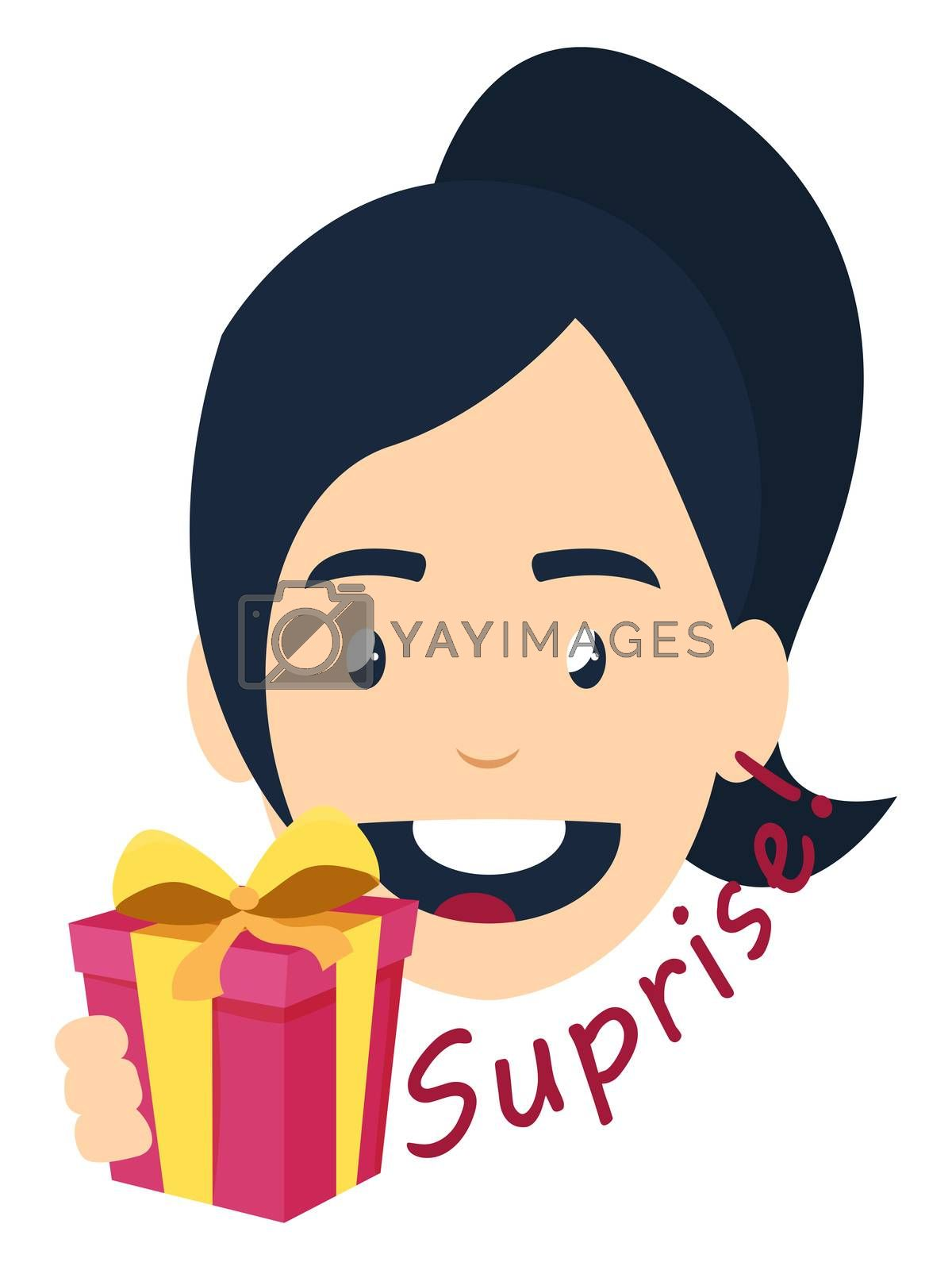 Girl with suprise gift, illustration, vector on white background