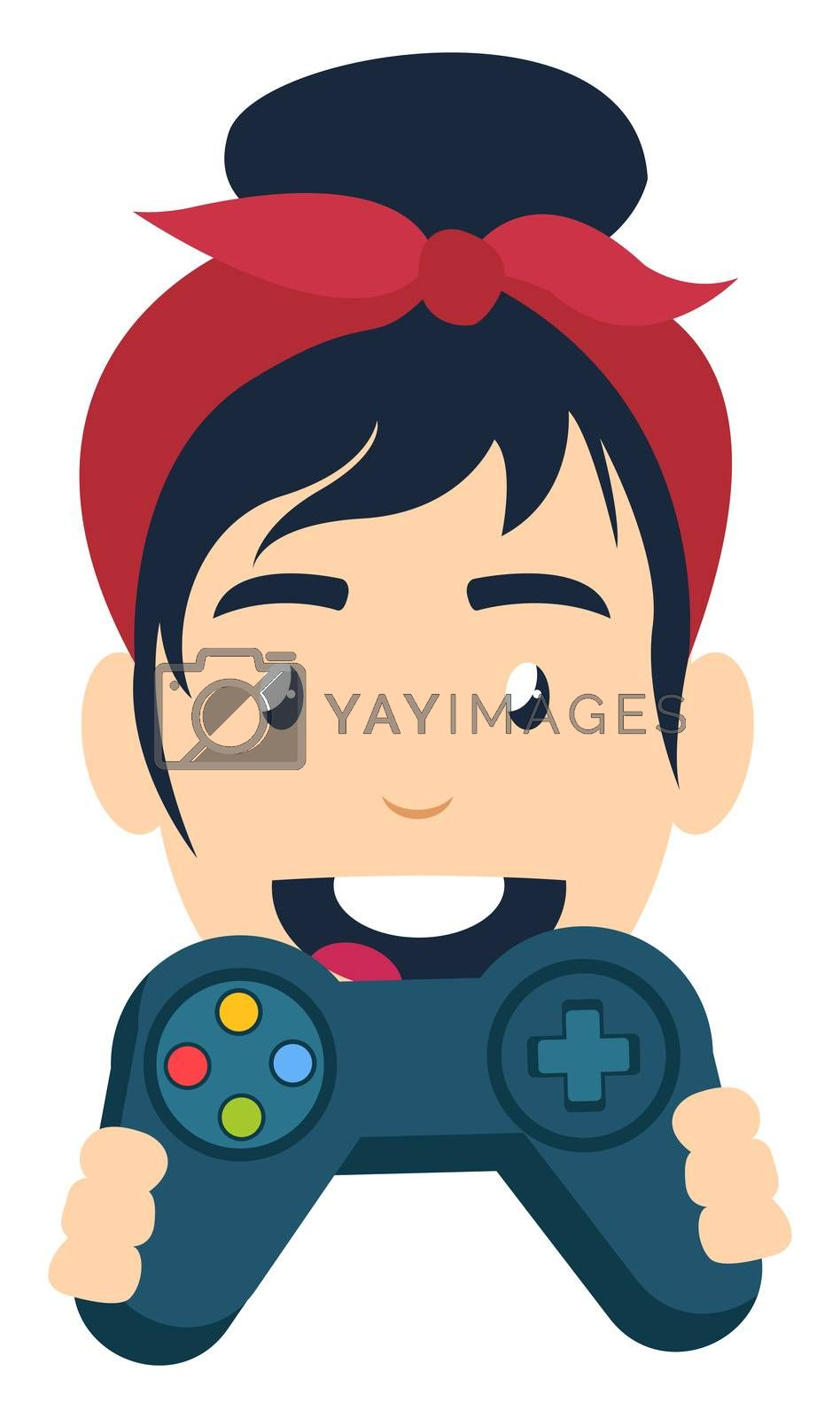 Girl with gamepad, illustration, vector on white background