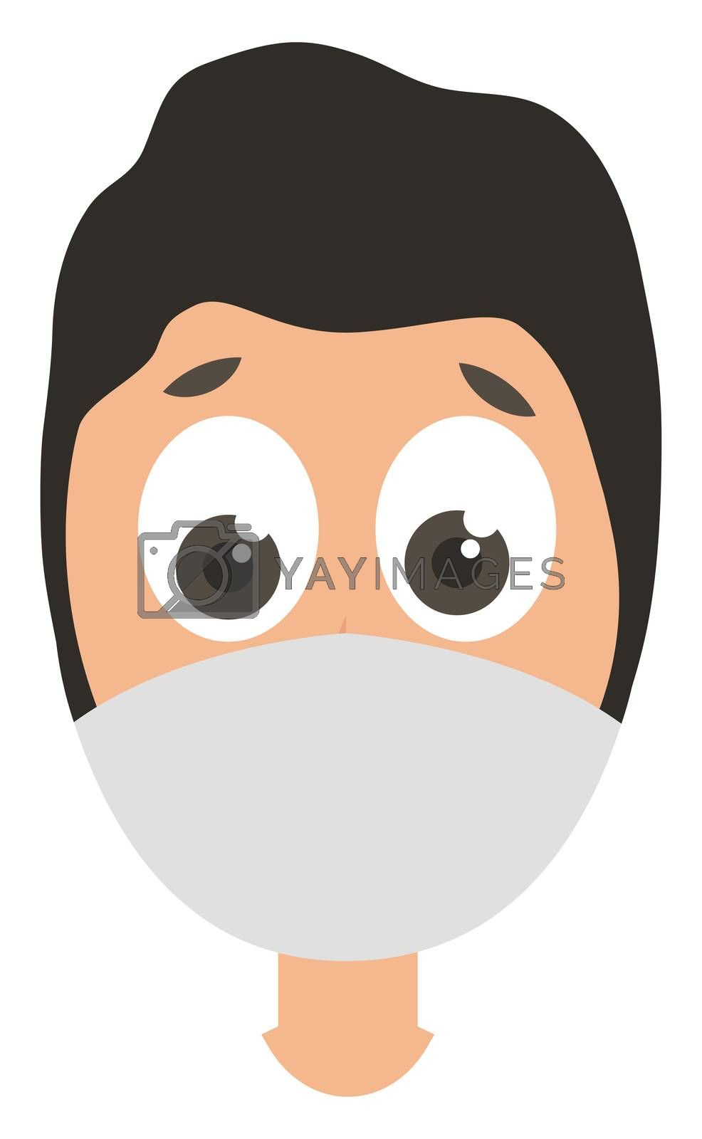 Man with medical mask, illustration, vector on white background