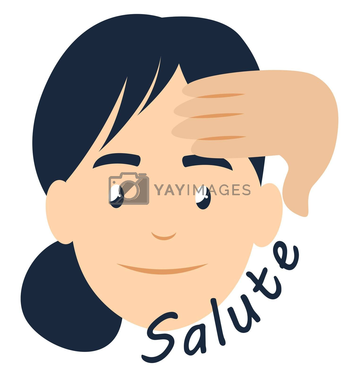 Girl saluting, illustration, vector on white background