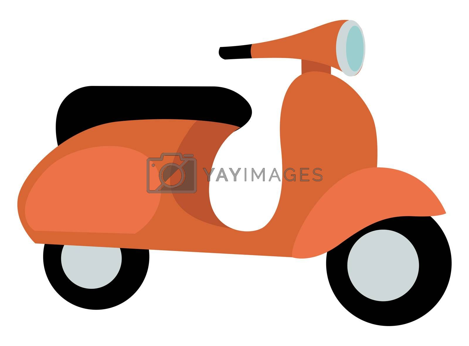 Orange scooter, illustration, vector on white background