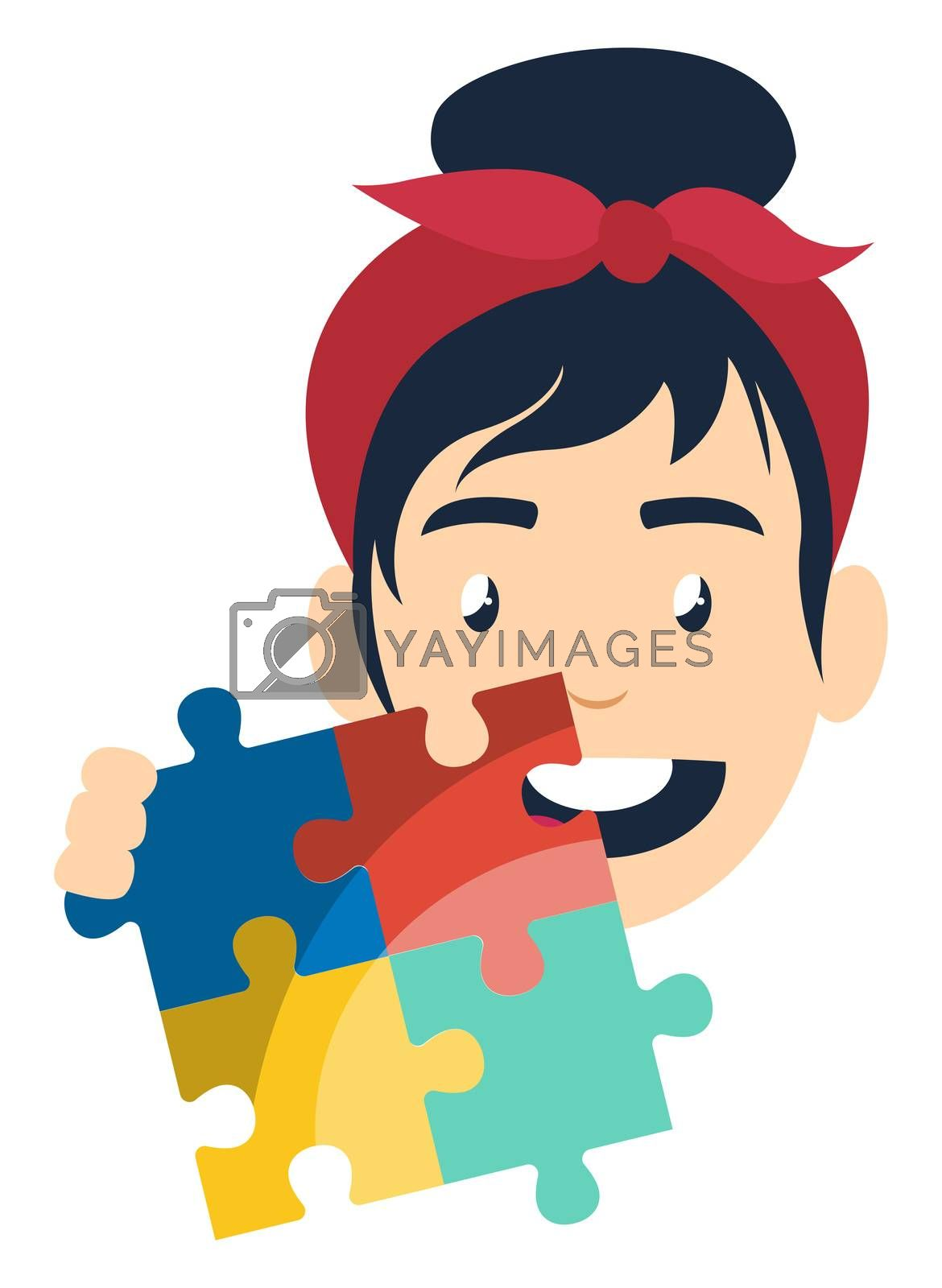 Girl with puzzle, illustration, vector on white background