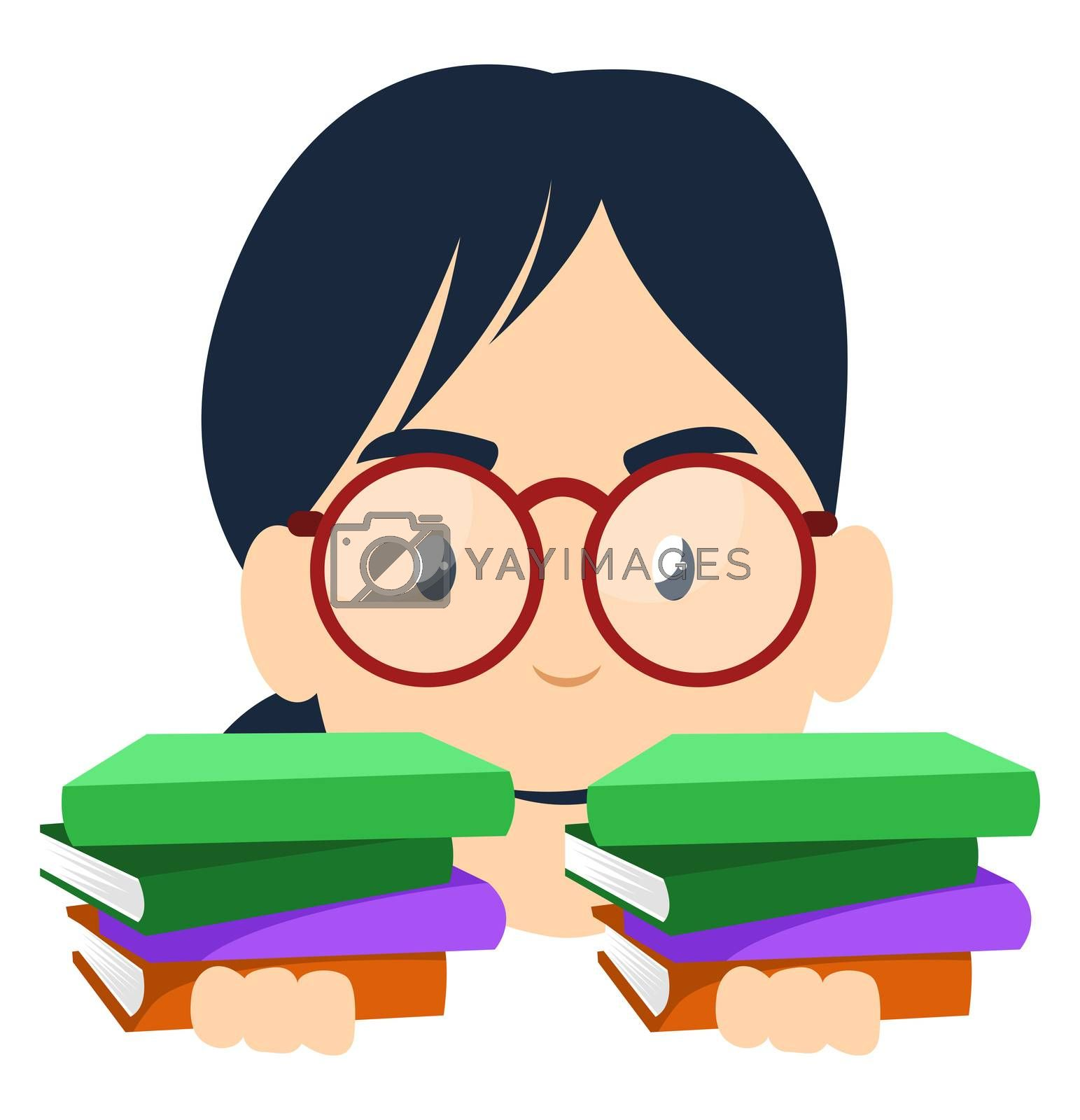 Girl with books, illustration, vector on white background