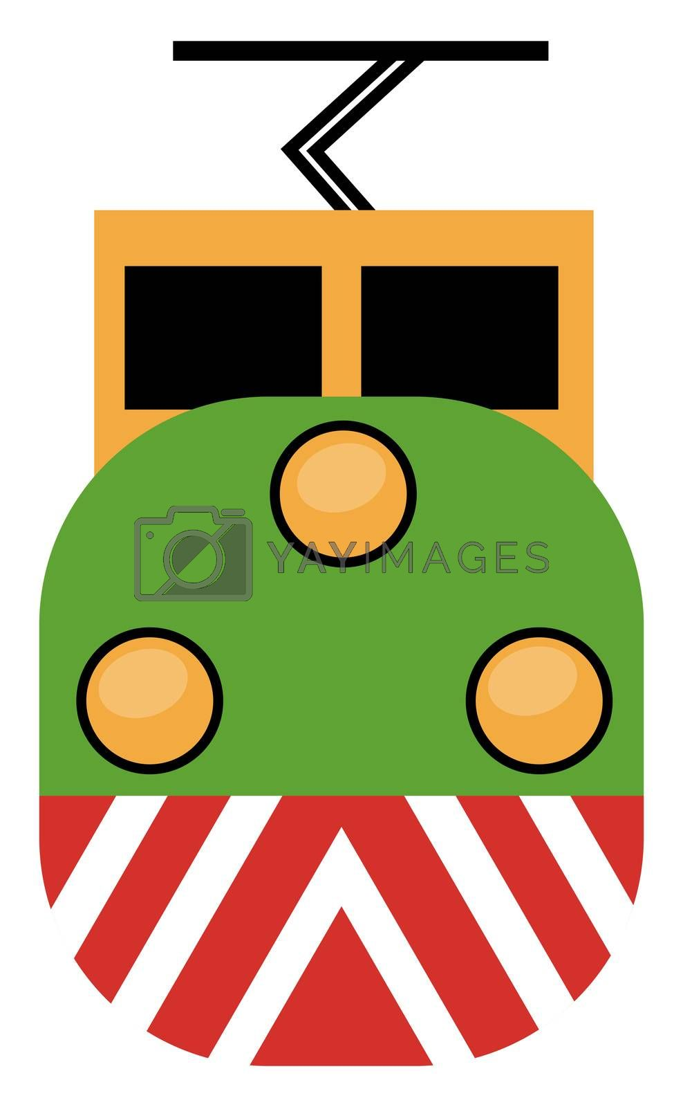 Big train, illustration, vector on white background