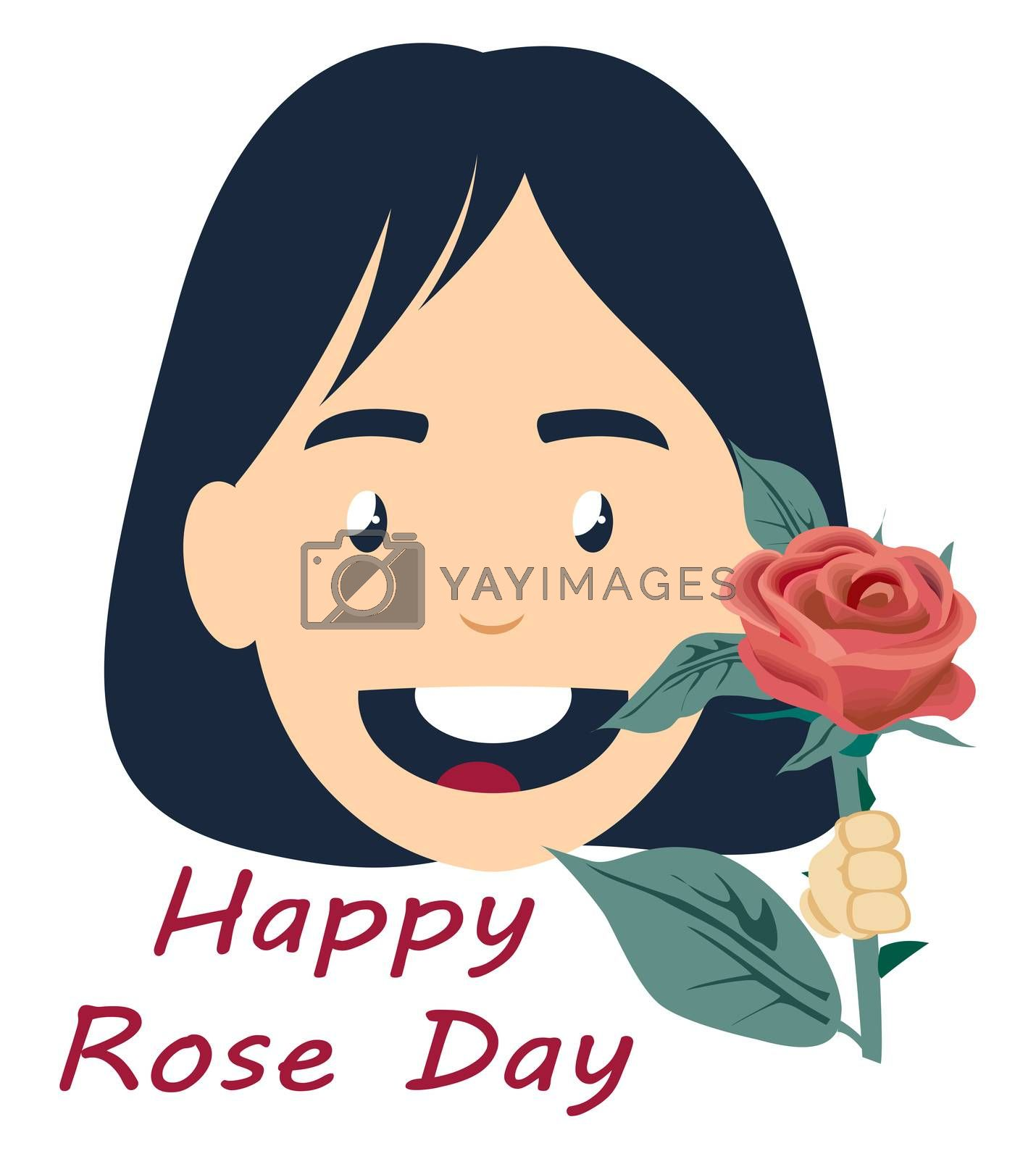 Girl with rose, illustration, vector on white background