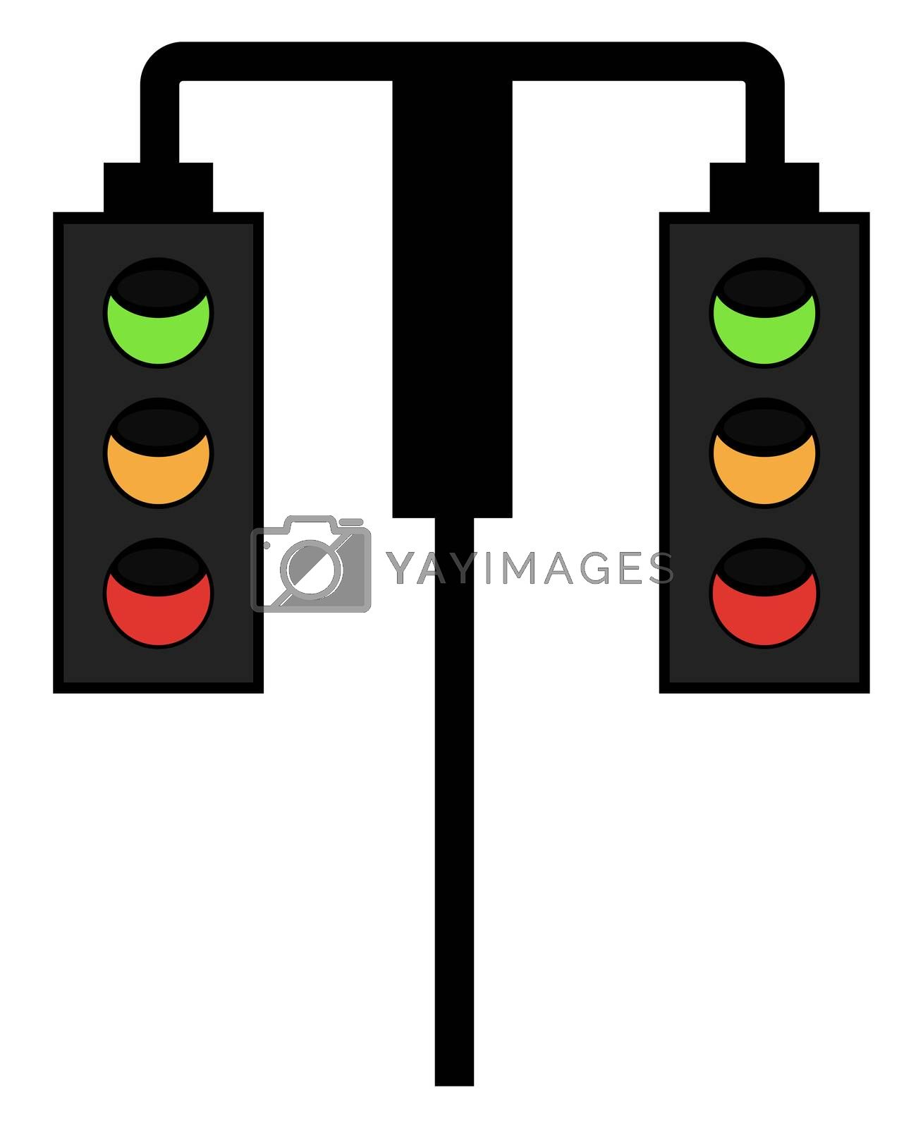 Hanging traffic light, illustration, vector on white background