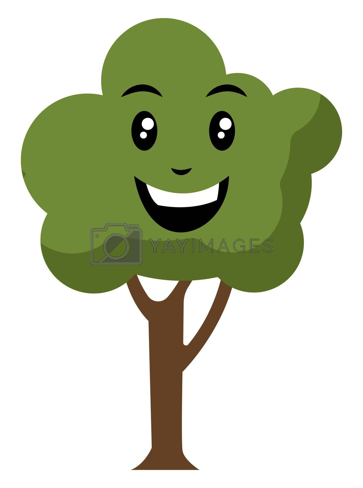 Happy tree, illustration, vector on white background