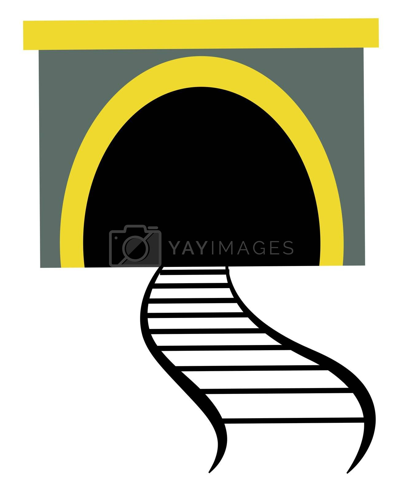 Train tunnel, illustration, vector on white background