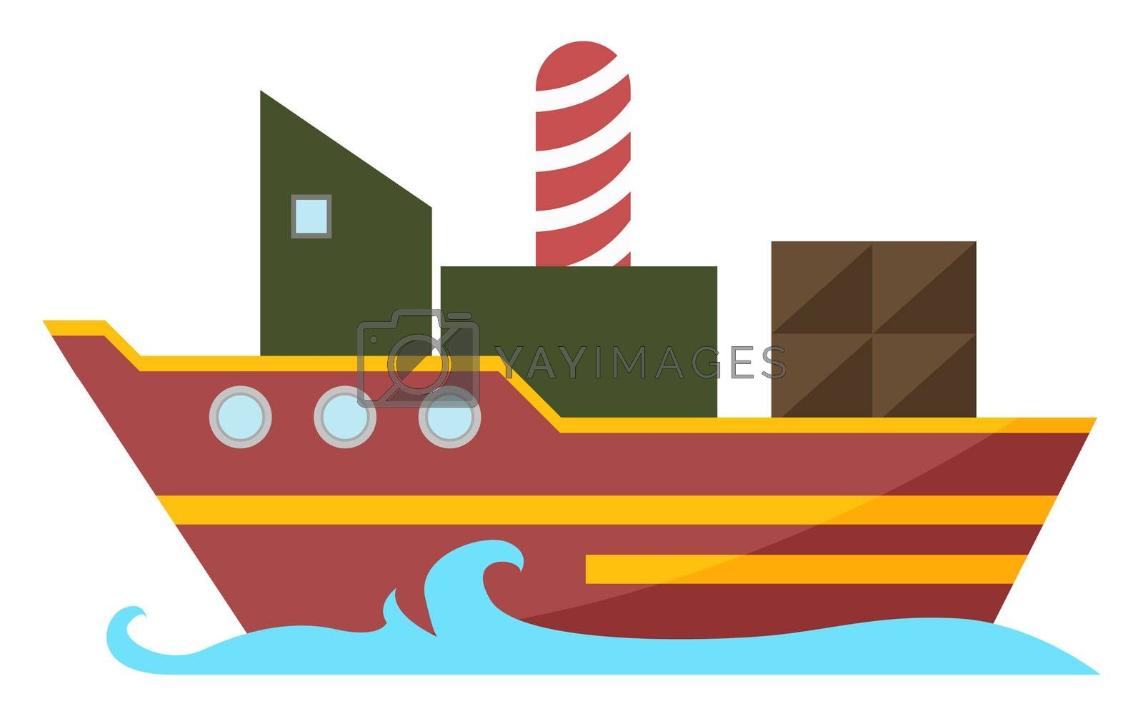 Ship on water, illustration, vector on white background