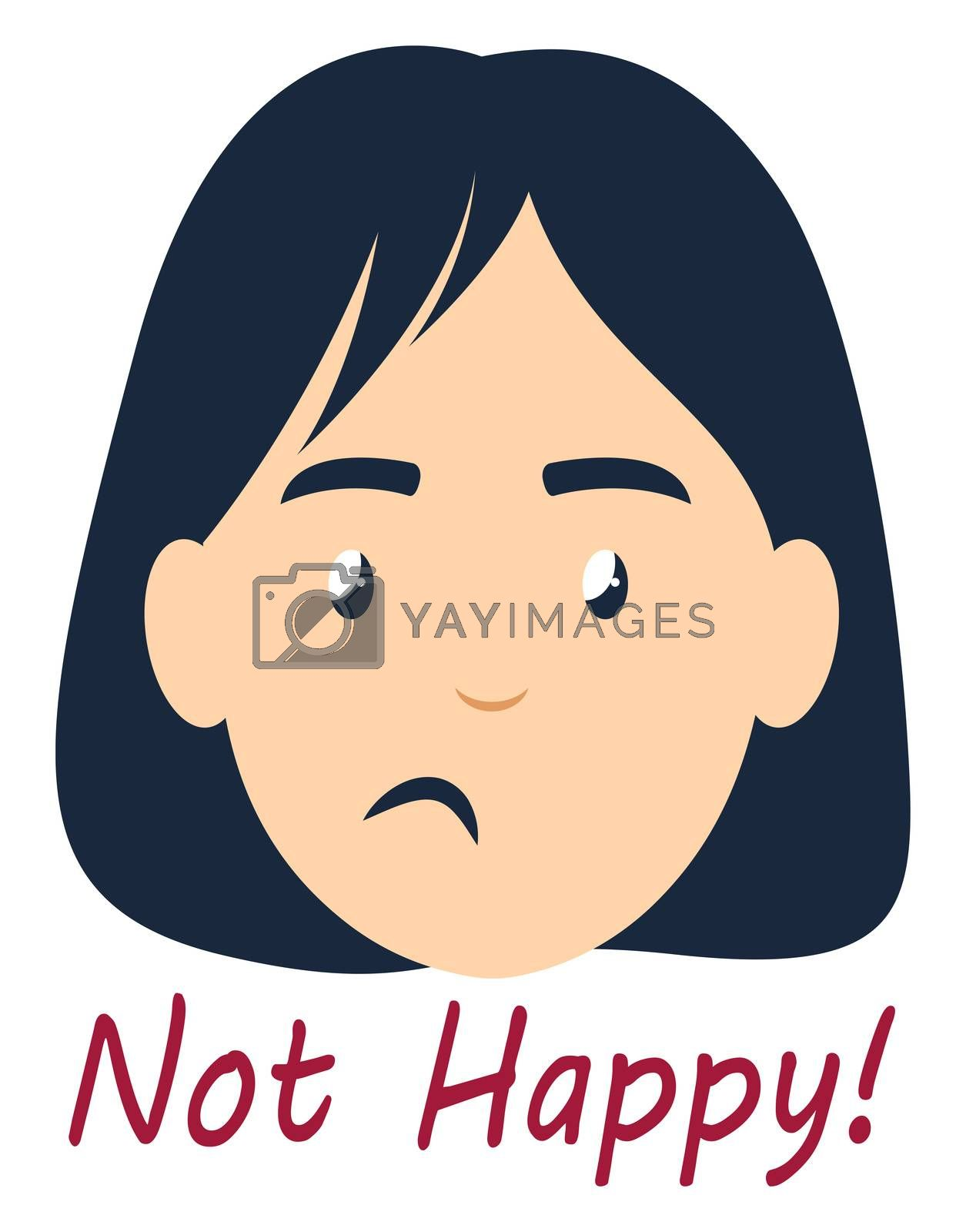 Girl is not happy, illustration, vector on white background