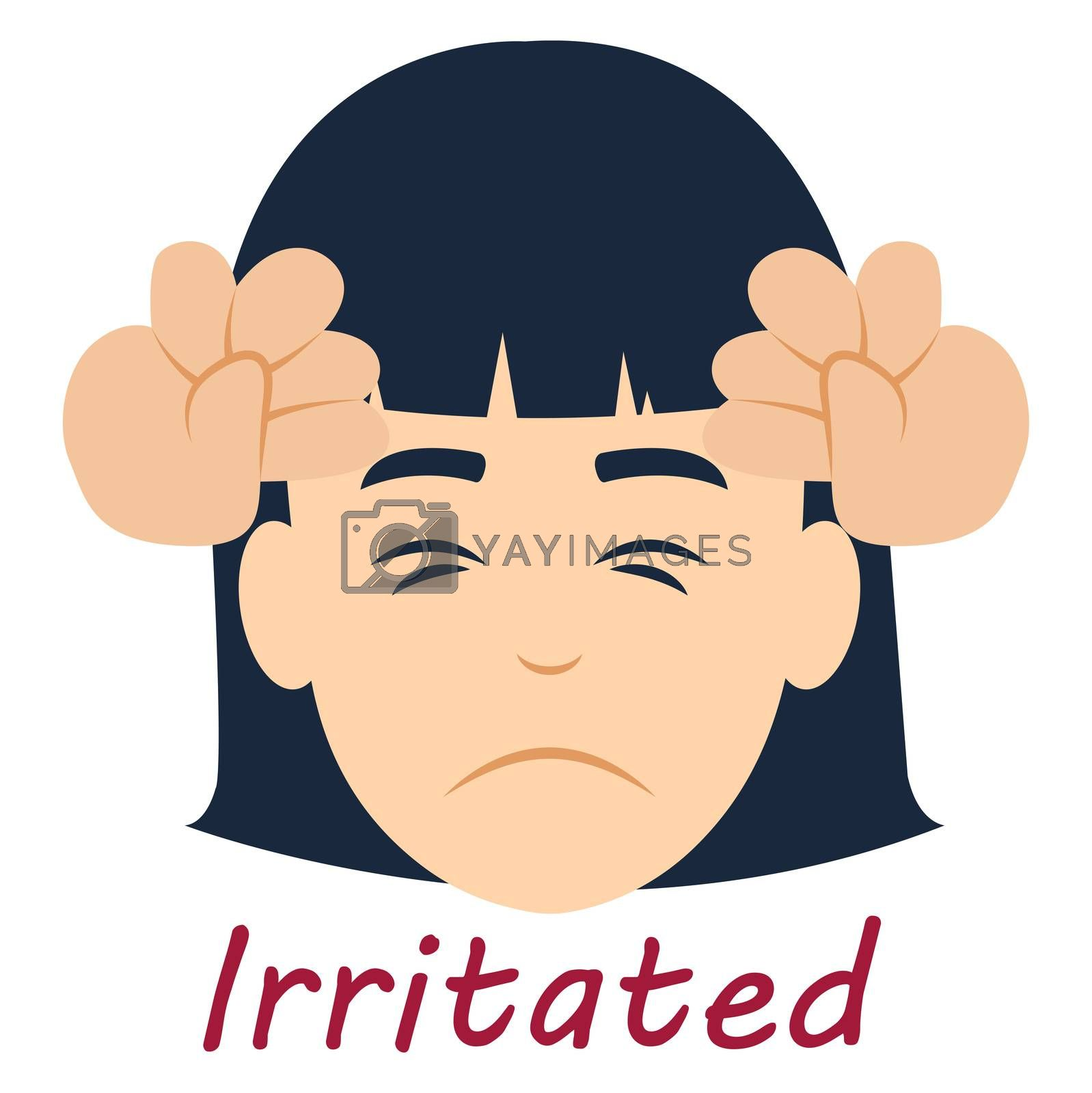 Girl irritated, illustration, vector on white background