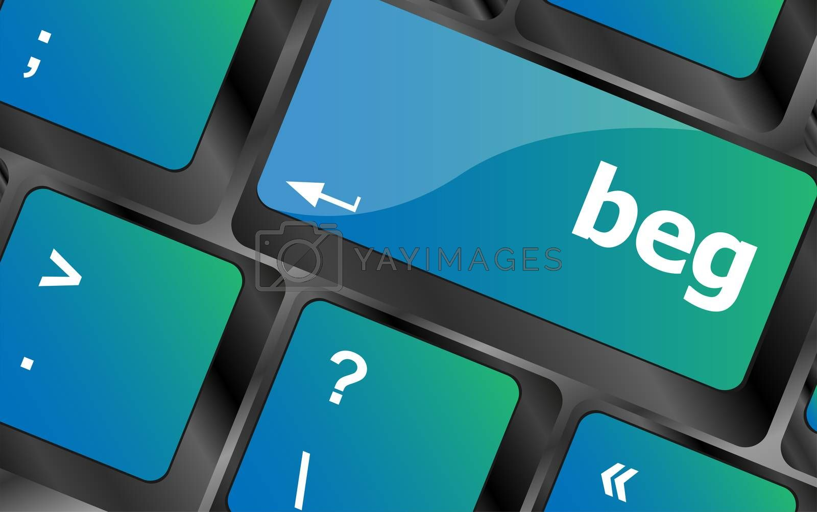 beg word on keyboard key, notebook computer button