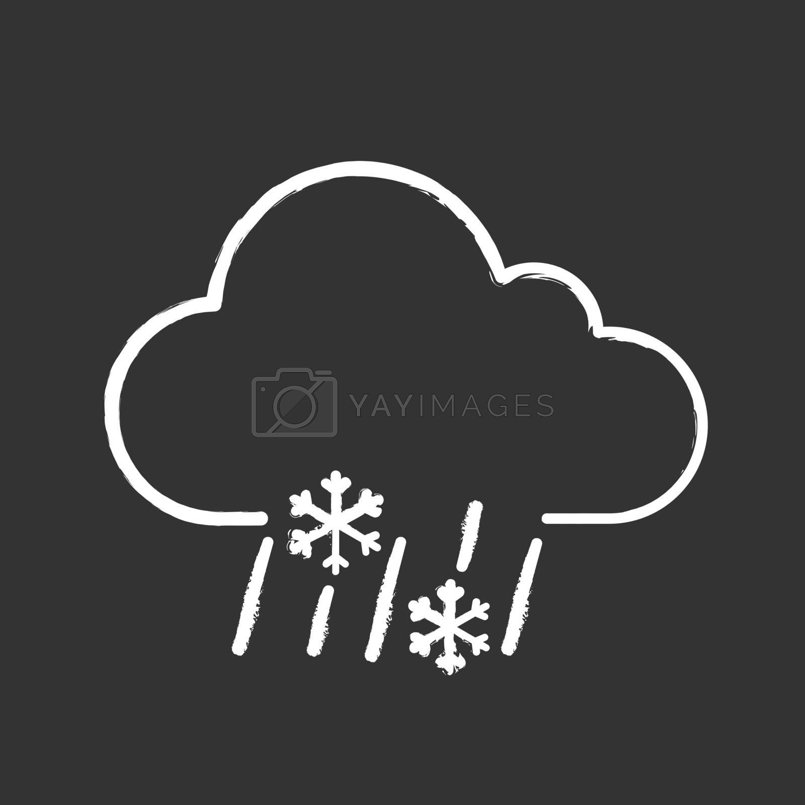Sleet weather chalk icon. Wet snow. Mixed snow and rain. Weather forecast. Isolated vector chalkboard illustration
