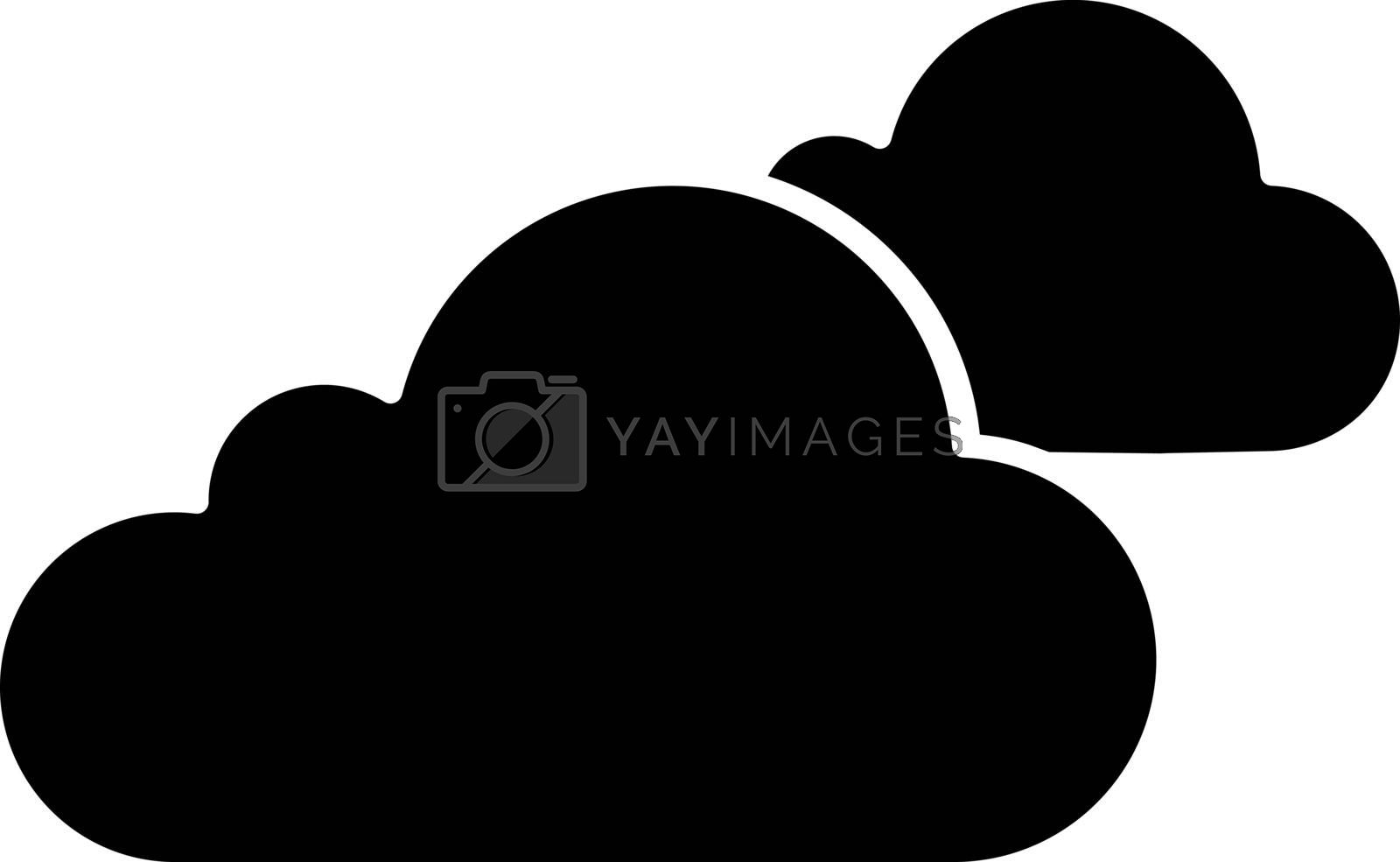 Cloudy weather glyph icon. Clouds. Heavy clouds. Overcast. Weather forecast. Silhouette symbol. Negative space. Vector isolated illustration