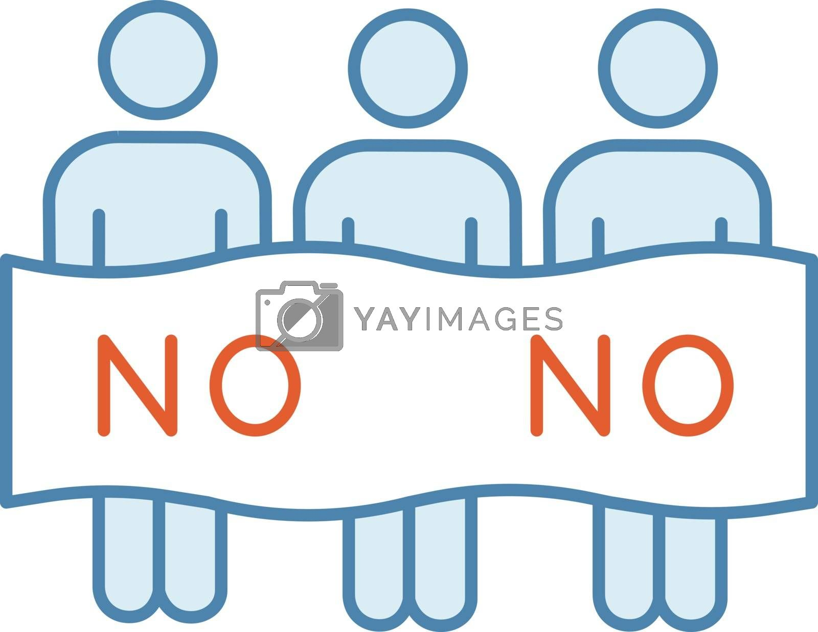 Protest event color icon. Political protest. Activists. Social movement. Public opinion. Demonstration, meeting. Collective action. Unconventional participation. Isolated vector illustration