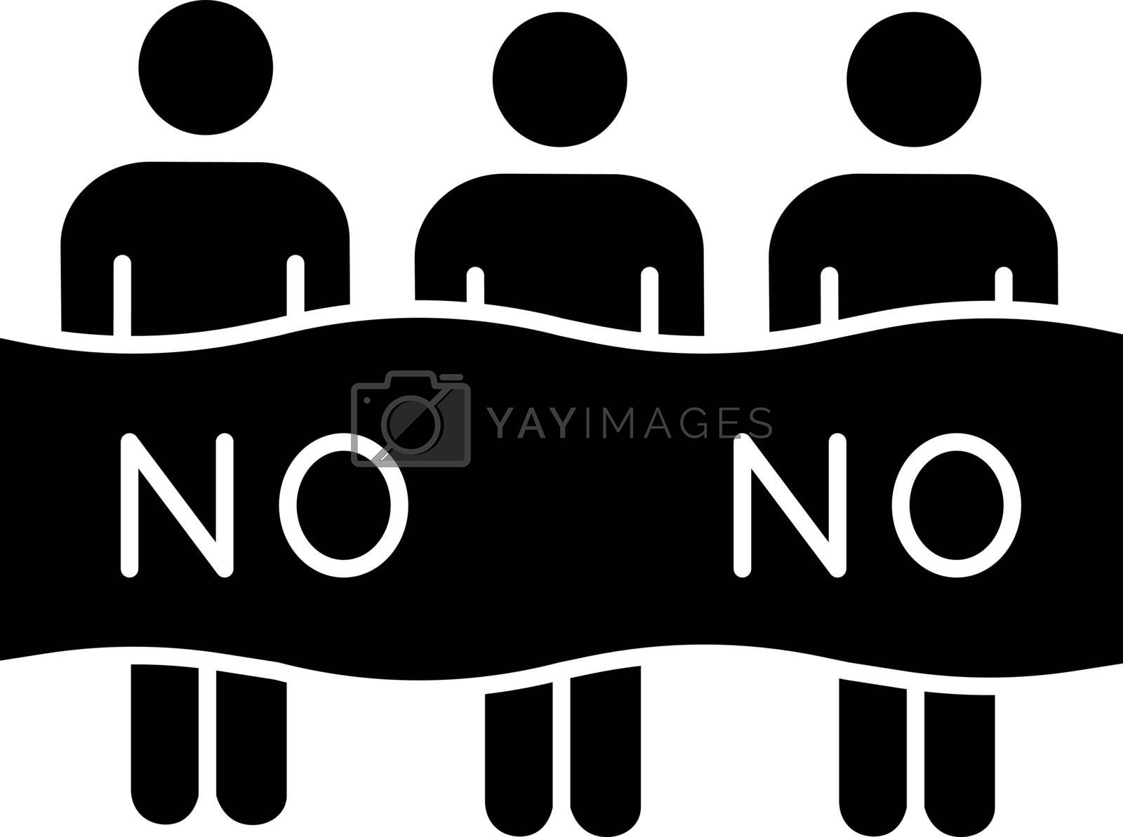 Protest event glyph icon. Political protest. Activists. Social movement. Public opinion. Demonstration, meeting. Collective action. Silhouette symbol. Vector isolated illustration