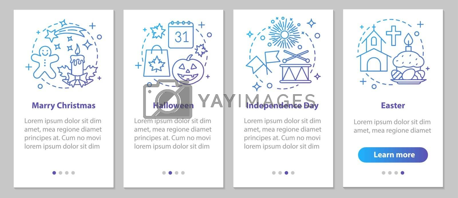 Seasonal holidays onboarding mobile app page screen with linear  by bsd