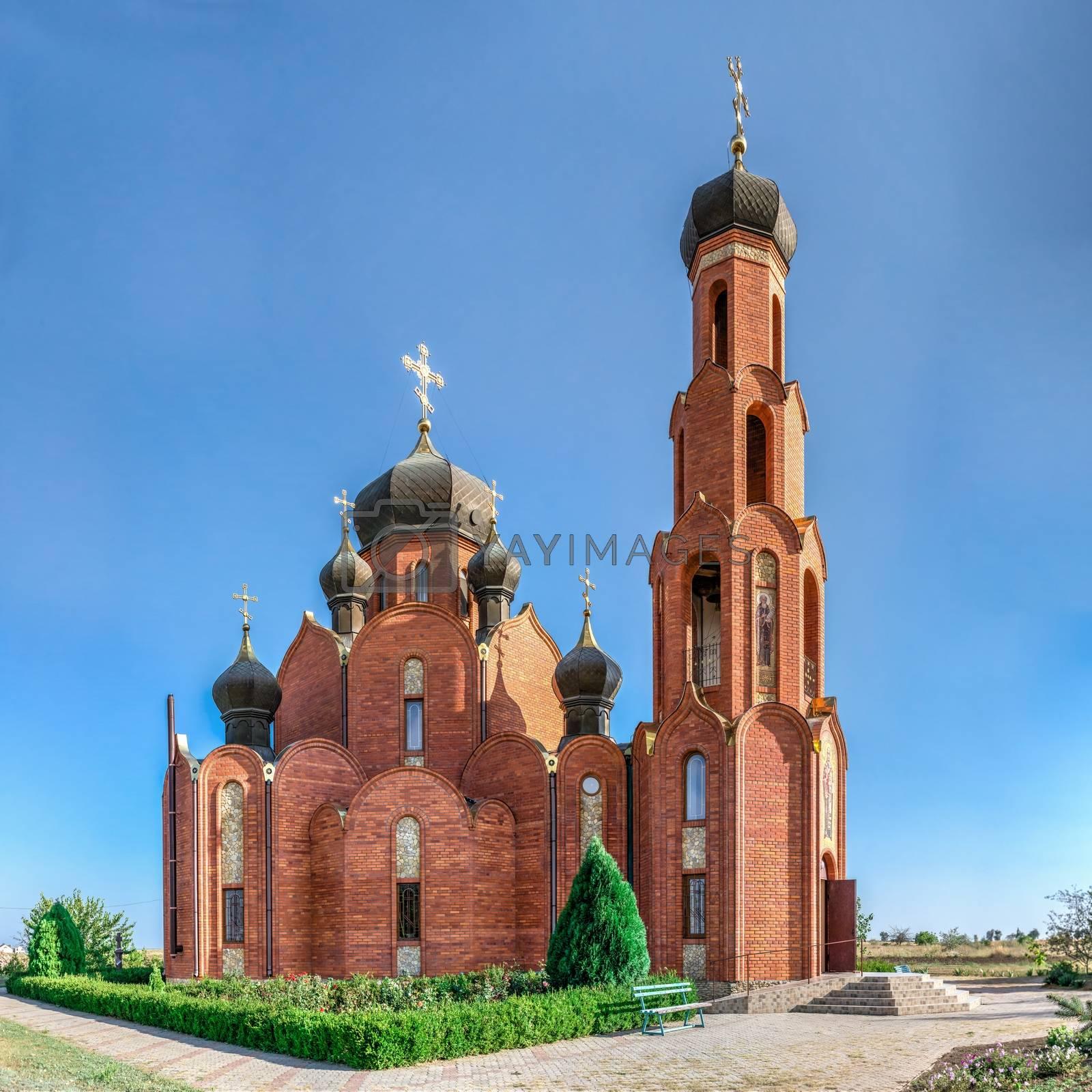 Church of St. Nicholas in Rybakovka, Odessa region, Ukraine, on a sunny summer day