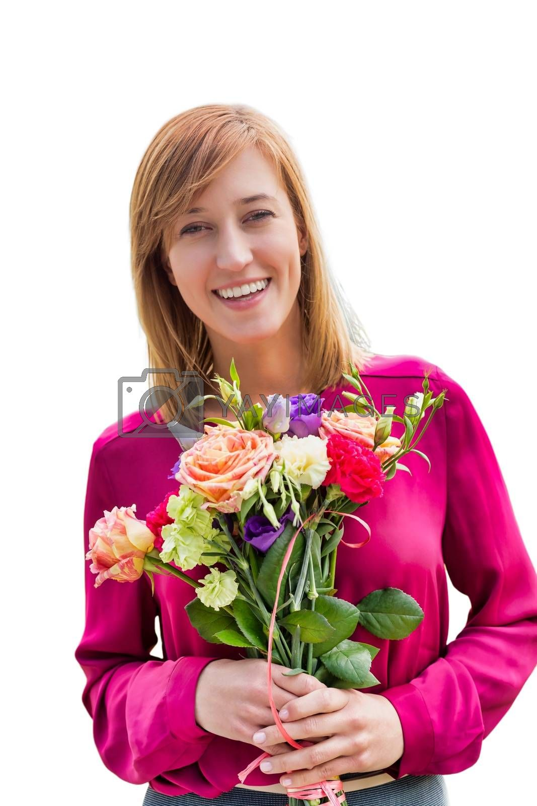 Cutout of Young attractive woman holding bouquet of flowers by moodboard