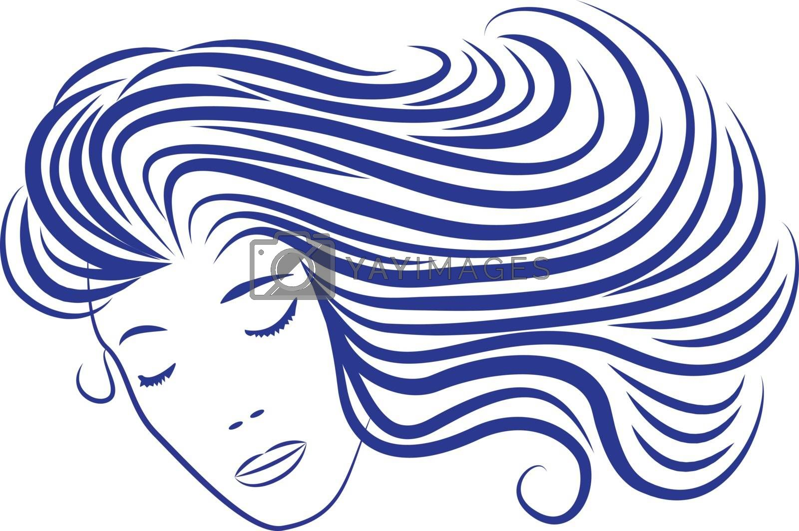 Cartoon woman silhouette with blue hair looking like sea waves. Cartoon sea wave vector illustration on a white background