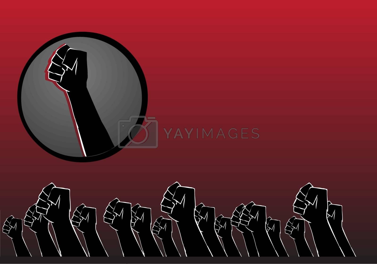 protest concept hands background vector illustration