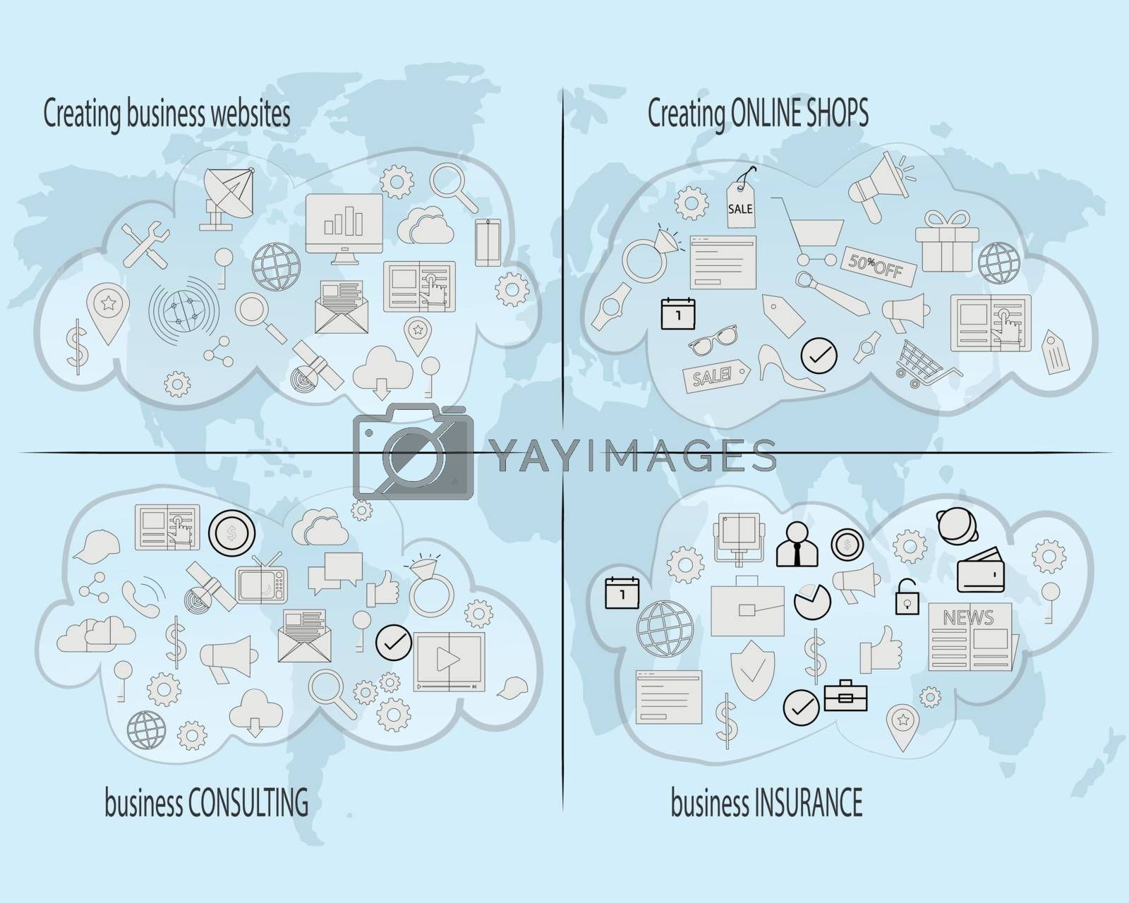 Set of icons for creating businness online and get your website or online shope worldwide growth and profit
