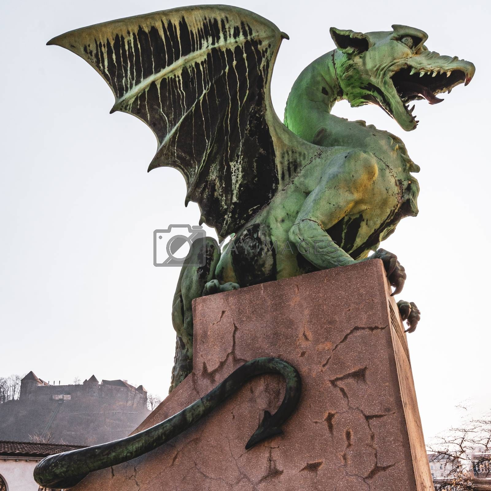 Dragon on the Ljubljana bridge in Slovenia by brambillasimone