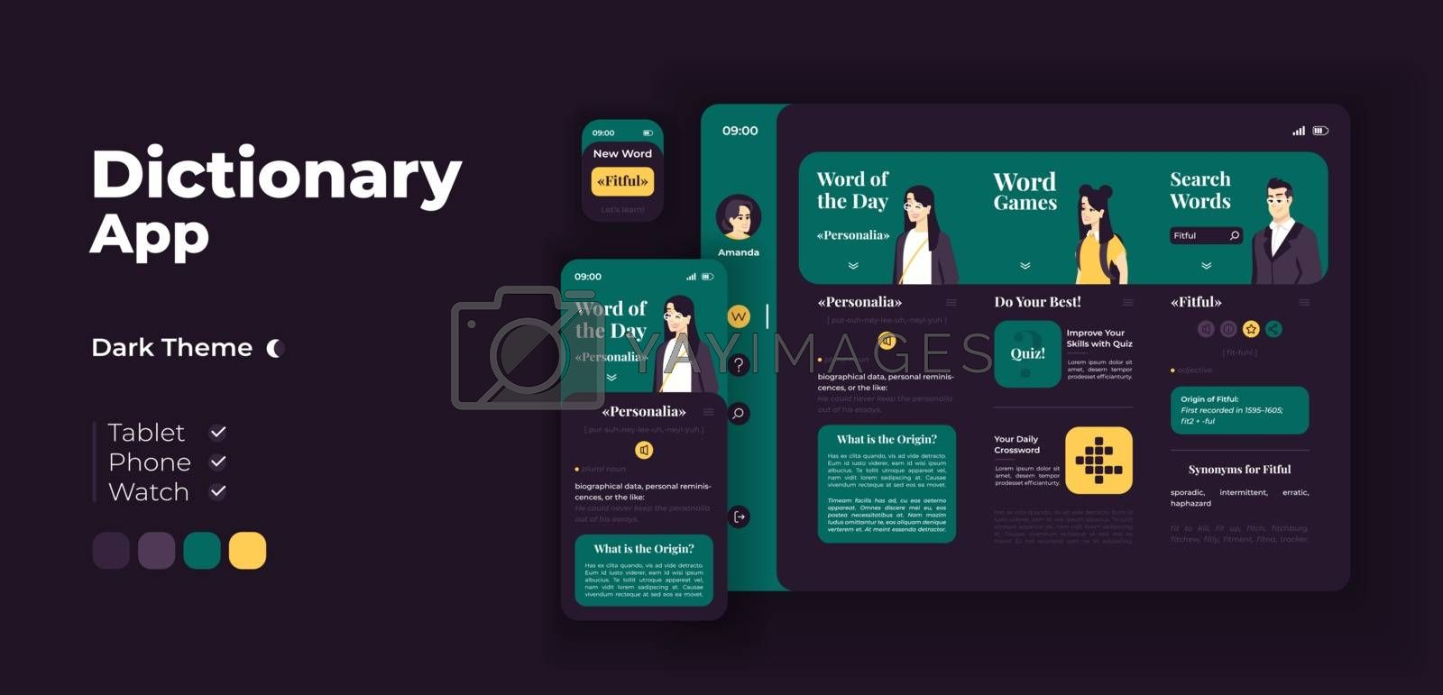E learning app screen vector adaptive design template. Word games. Online dictionary application night mode interface with flat characters. Smartphone, tablet, smart watch cartoon UI