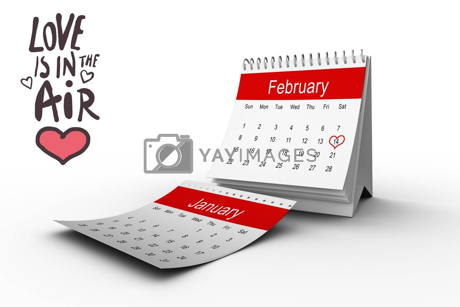 love is in the air against february calendar