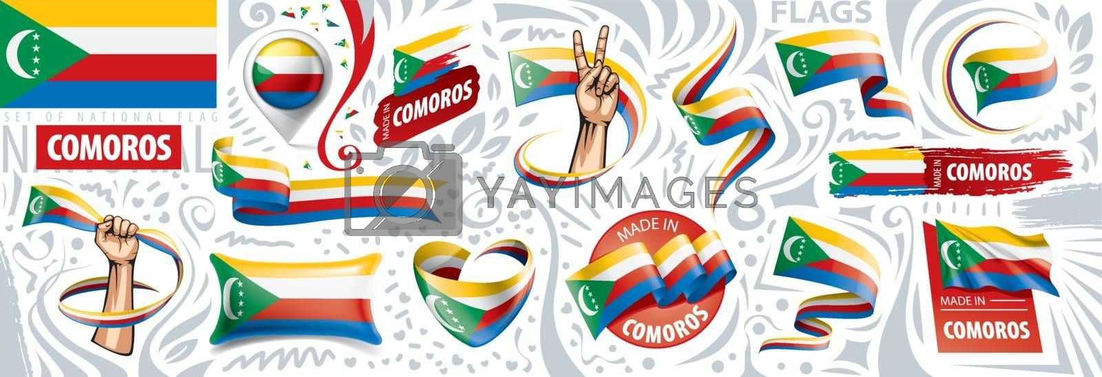 Vector set of the national flag of Comoros in various creative designs.