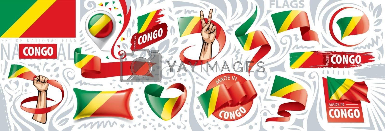 Vector set of the national flag of Congo in various creative designs.