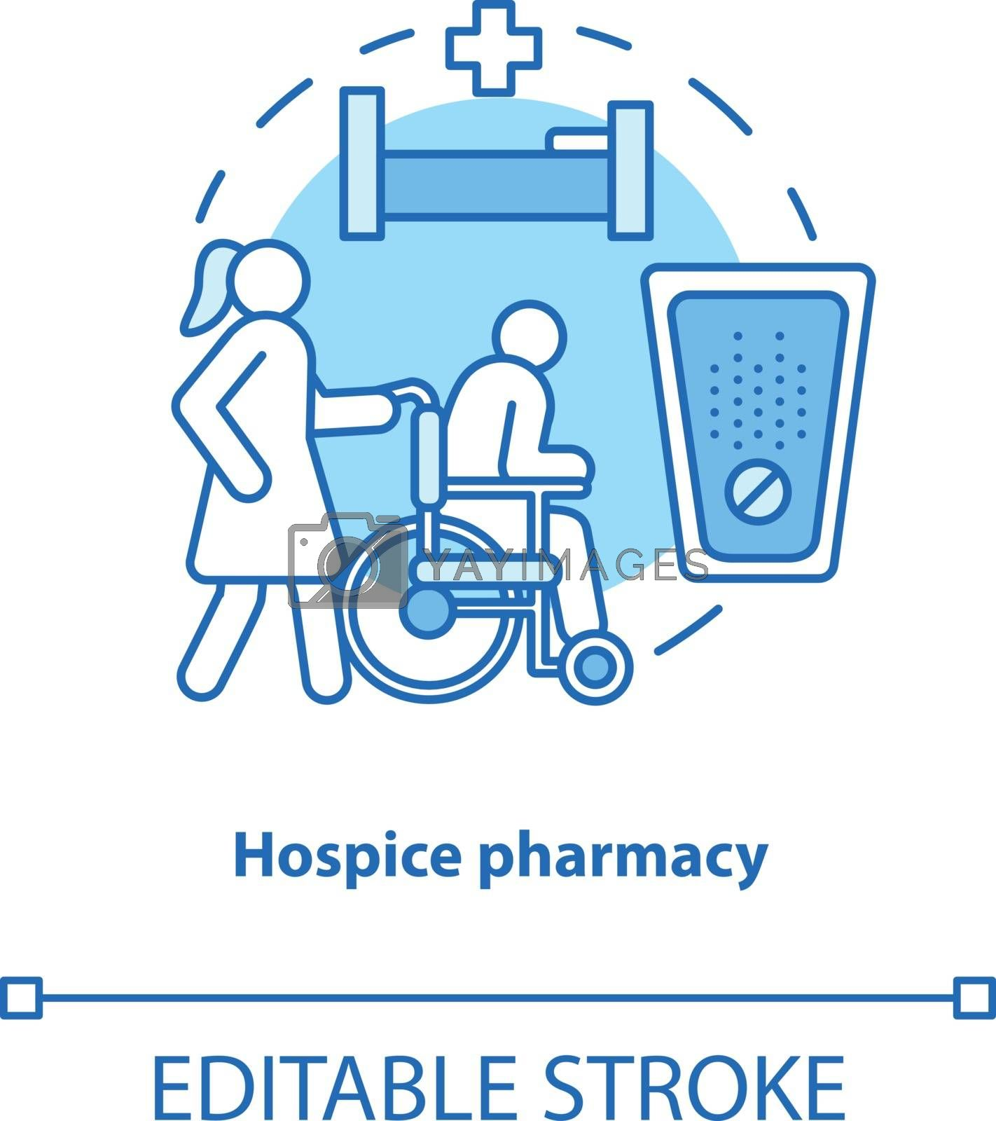 Pharmacy concept icon. Hospice patient medication treatment idea thin line illustration. Senior, disabled people healthcare and pain relief. Vector isolated outline drawing. Editable stroke