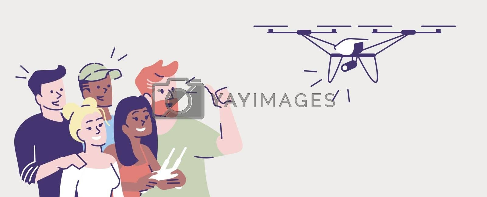 Selfie flat vector illustration. Happy people shooting with drone. Capturing bright moments. Group of friends taking self photo with quadcopter isolated cartoon character on grey background