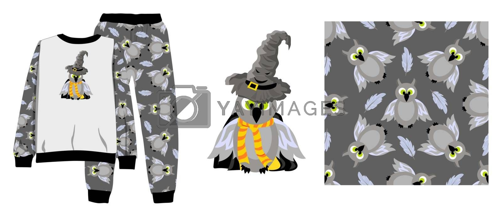 Funny print for baby clothes. Talking hat. Harry Potter movie character. A magical item. Wizard's clothes. T-shirt design. Vector illustration Ready-made textile design kit. Seamless pattern Harry Pot