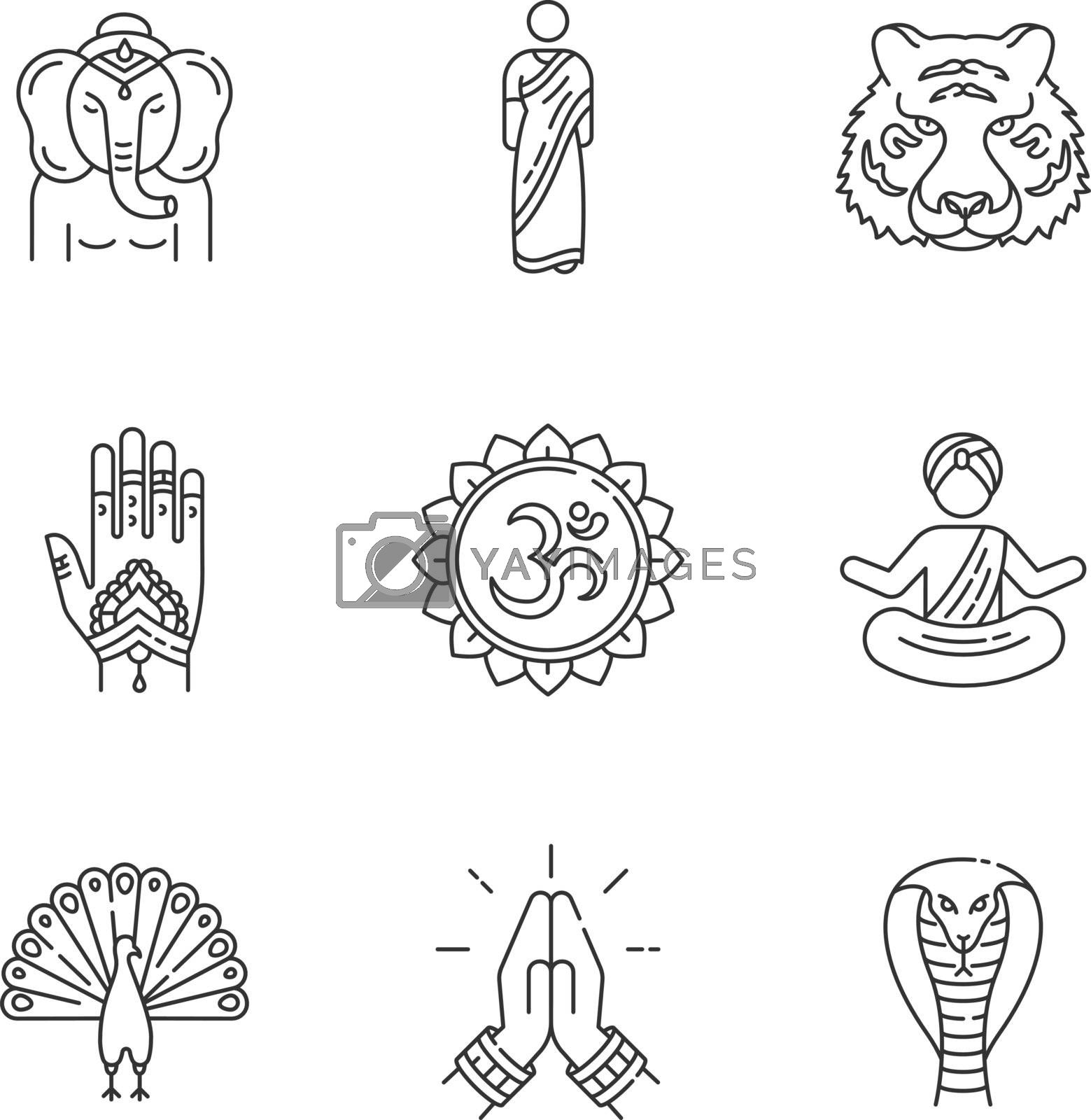Indian spiritual symbols pixel perfect linear icons set. Om sound. Yoga. Namaste gesture. Lord Ganesha. Customizable thin line contour symbols. Isolated vector outline illustrations. Editable stroke
