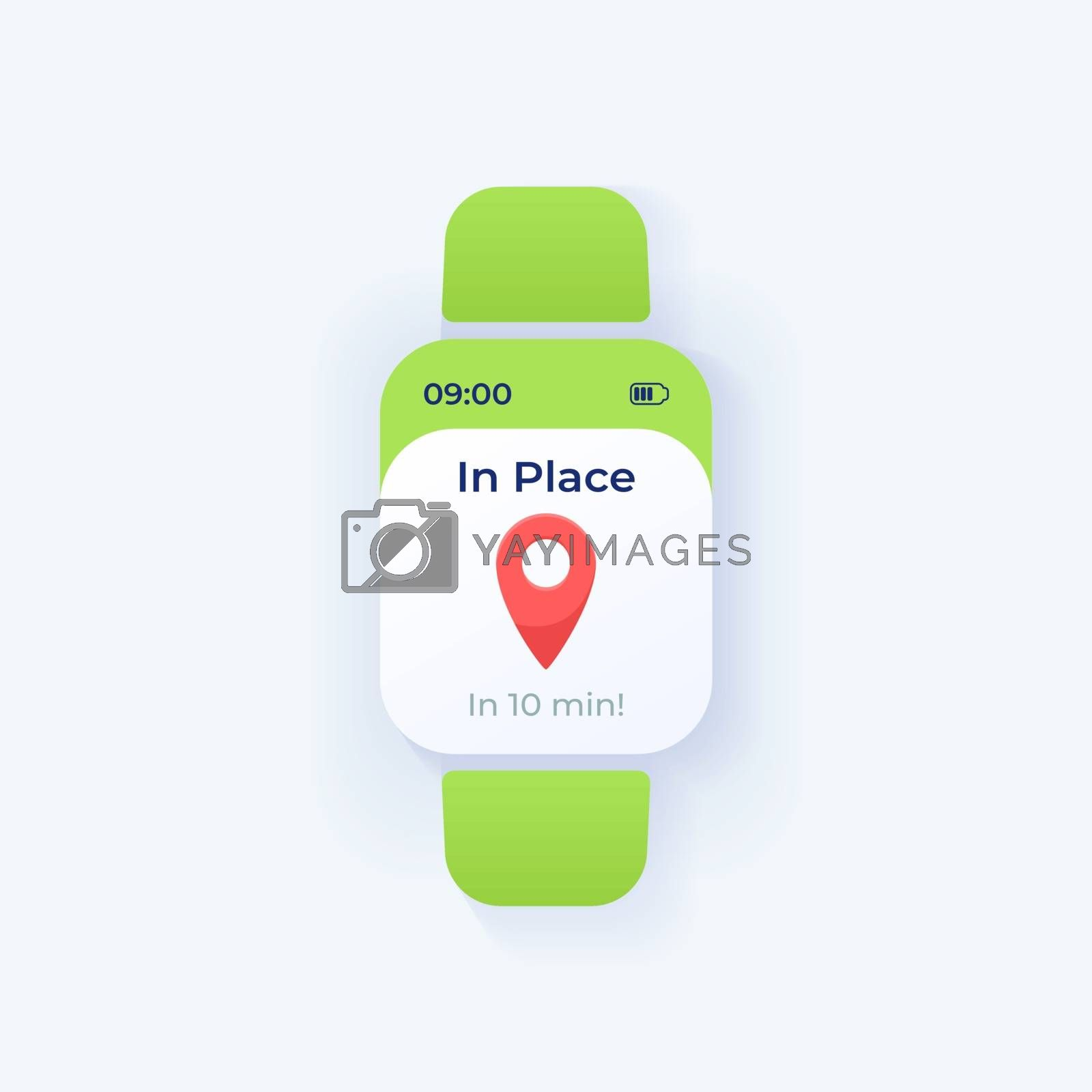 Travel reminder smartwatch interface vector template by bsd